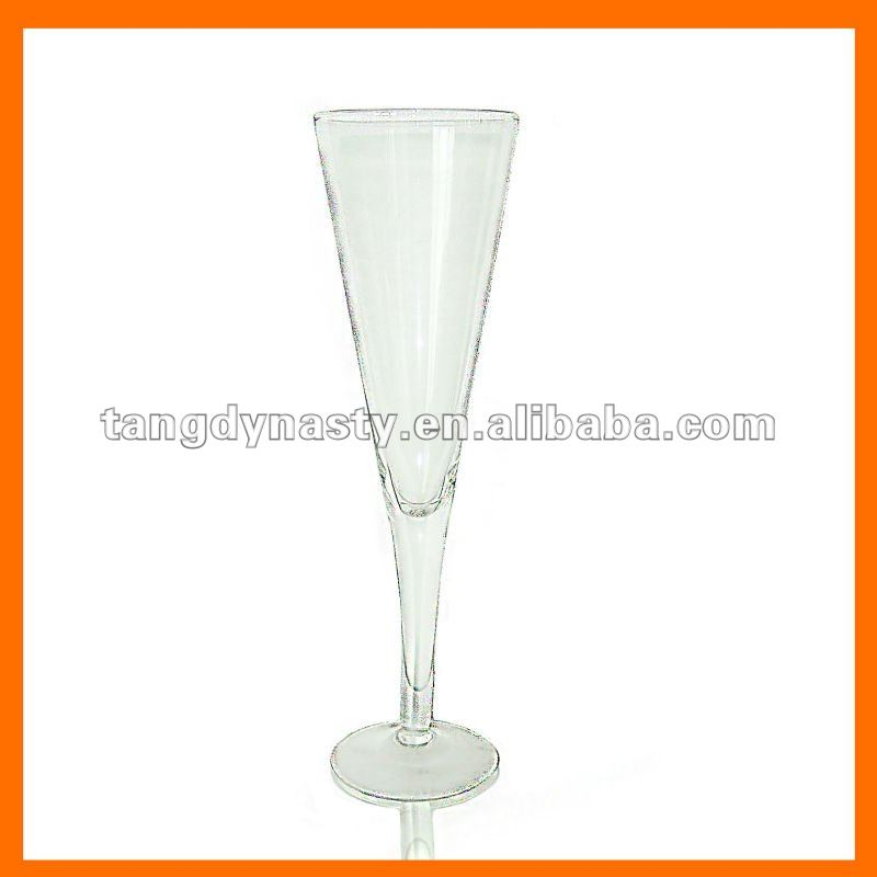 Hand blown clear champagne glass thick stem champagne flute whole sales products china hand - Wine glasses with thick stems ...