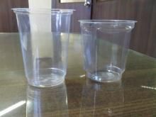 clear plastic disposable PP glasses.