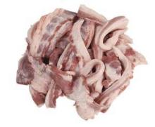Pork belly strips from B and C grade bellies, rindless