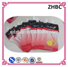 Liquid beverage packaging stand up spout pouch