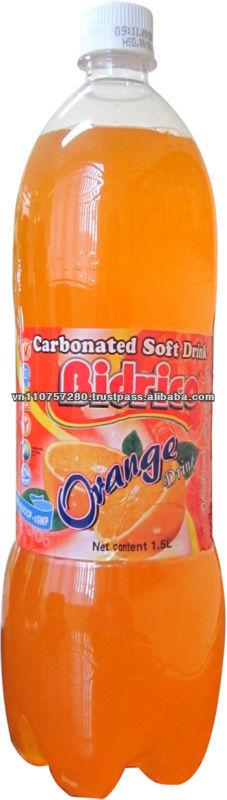 Carbonated soft drink in 1.5L PET bottle - Orange flavor - Bidrico Brand