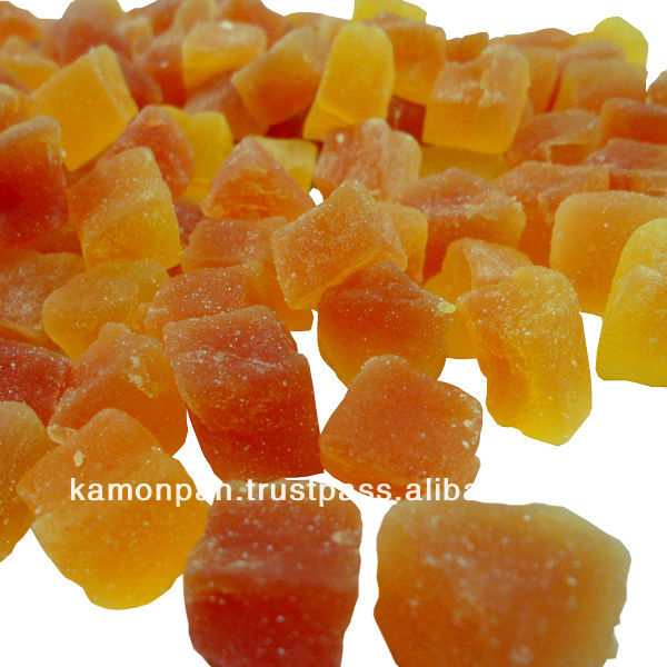 Thailand Fruit Wholesaler Email Mail: Dried Fruit Papaya Dice 8-10 Mm. Natural Color Products
