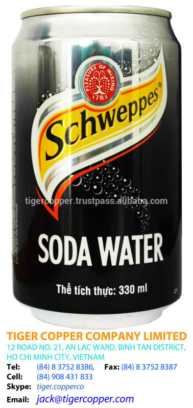 SCHWEPPES SODA WATER CAN 330ML/VIETNAM SODA WATER/SODA VIETNAM/CANNED SODA WATER /SCHWEPPES VIETNAM
