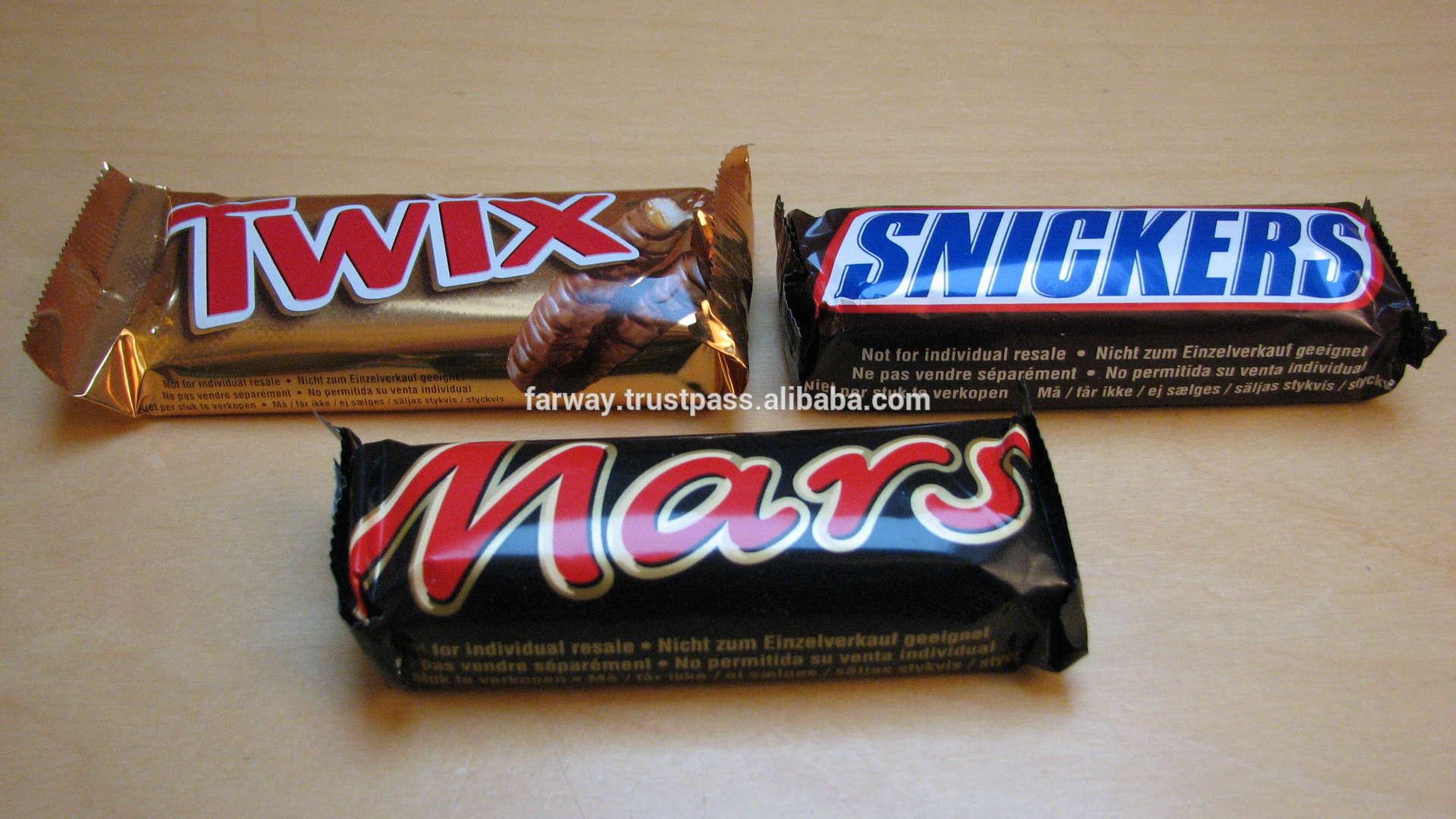 Mars, snickers, twix, bounty chocolates