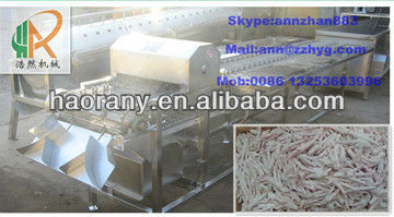 Stainless steel conveyor type chicken paw cutting machine 0086 13253603996