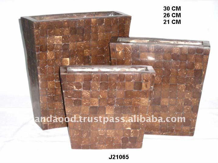 Coconut wood mosaic Vase with Mosaic on Iron Base water leak Proof