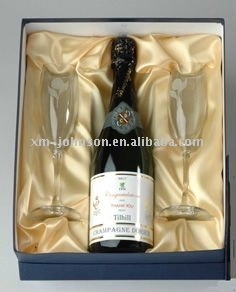 Champagne gift packing box with two glasses