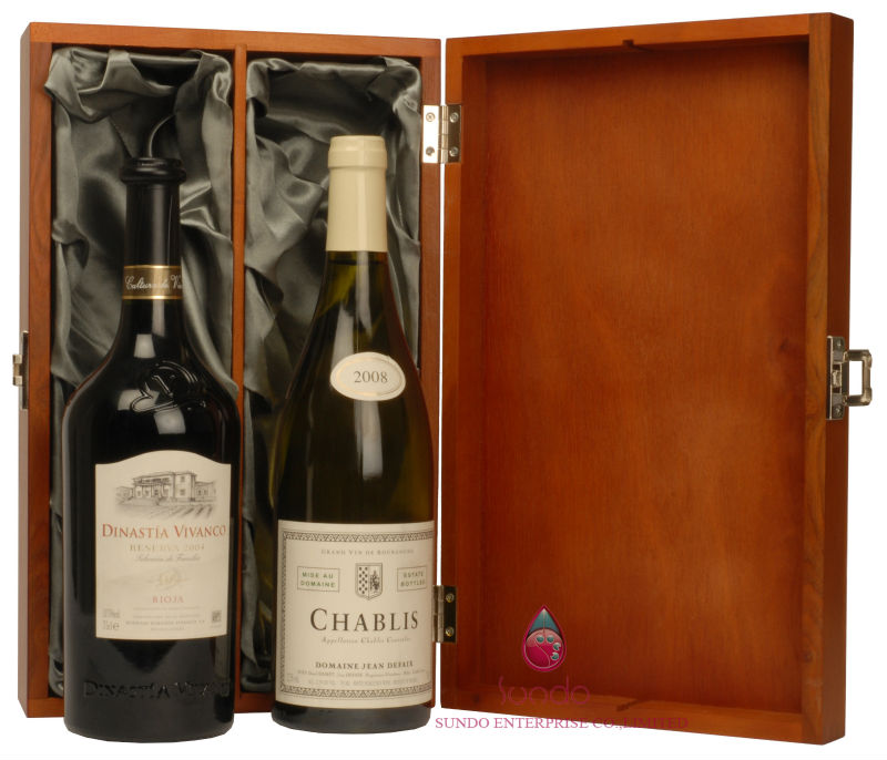 wooden red wine case for double bottles
