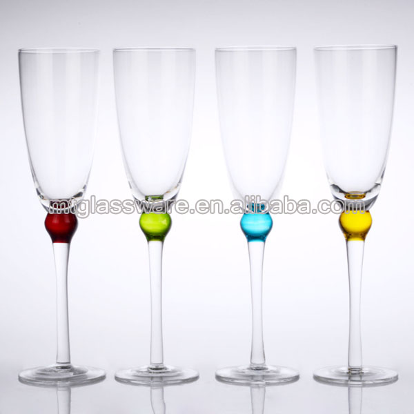 Champagne flute glass thick stem color bead products china champagne flute glass thick stem - Wine glasses with thick stems ...