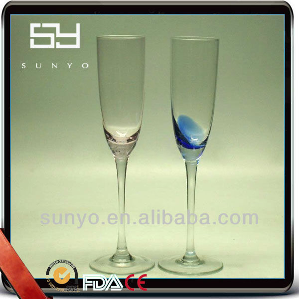Hand Blown High Quality Colored Wedding Champagne Glass