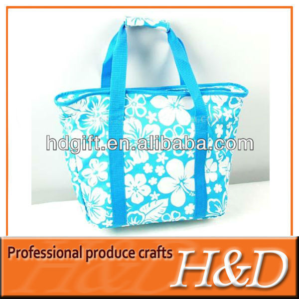 Gravure print polyester tote pack champagne cooler bag