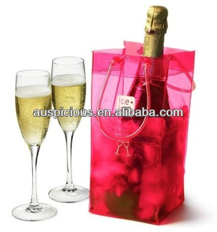 Packing champagne clear pvc ice cooler bag