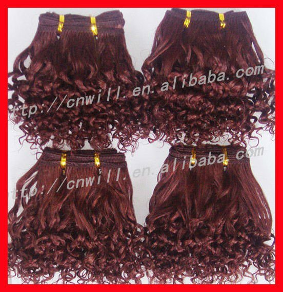 Pretty Red Wine Color Brazilian Hair Weave Curly Red Wine Color Hair