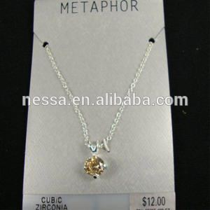 8MM Champagne Ice Cubic Zirconia Necklace on Fine Silver Chain sold by pc