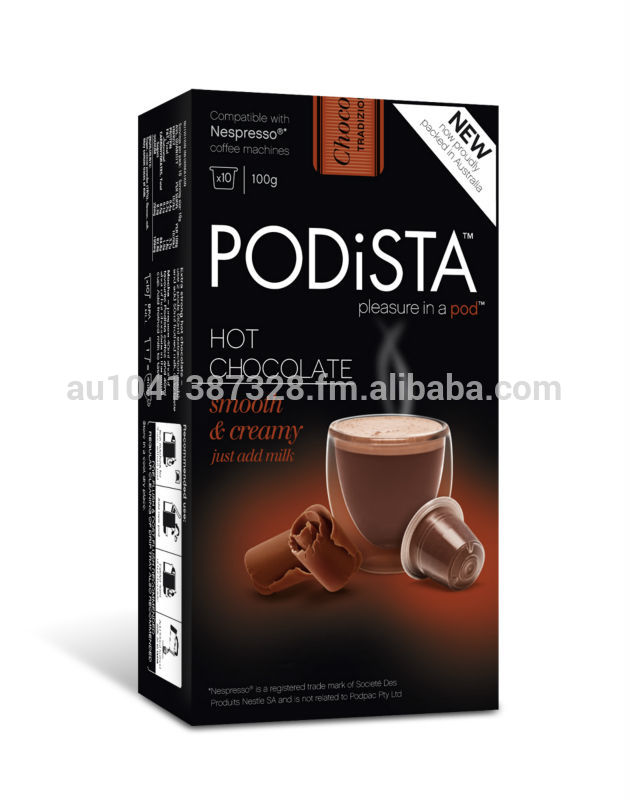 nespresso compatible capsules pods podista hot chocolate products australia nespresso. Black Bedroom Furniture Sets. Home Design Ideas