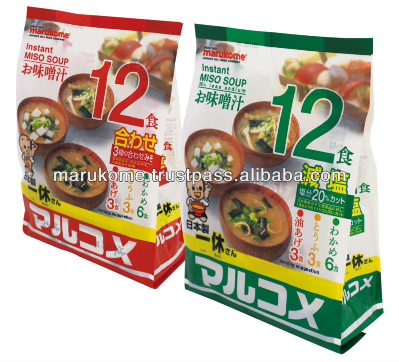 Instant miso soup containing dashi of bonito and kombu seaweed powder
