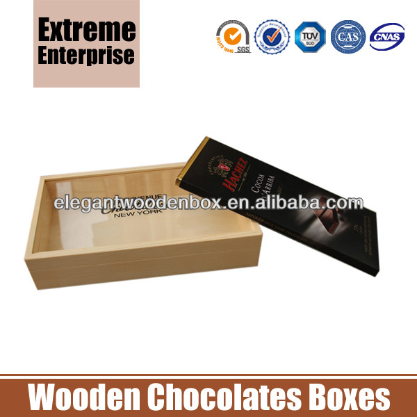Chocolates Bar Wooden Boxes with Clear Window
