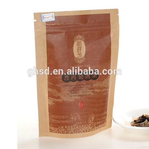 stand up craft paper bag with zipper top, high quaility MATT tea bag