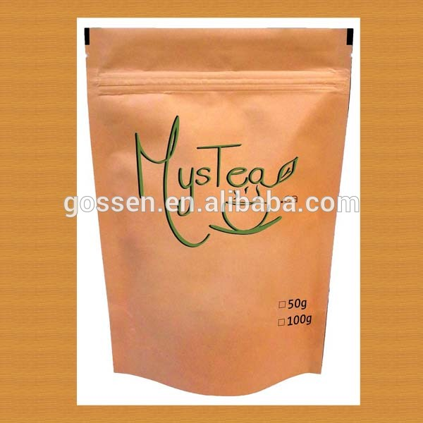 Accept Custom Order and Tea Industrial Use standing zipper tea bag