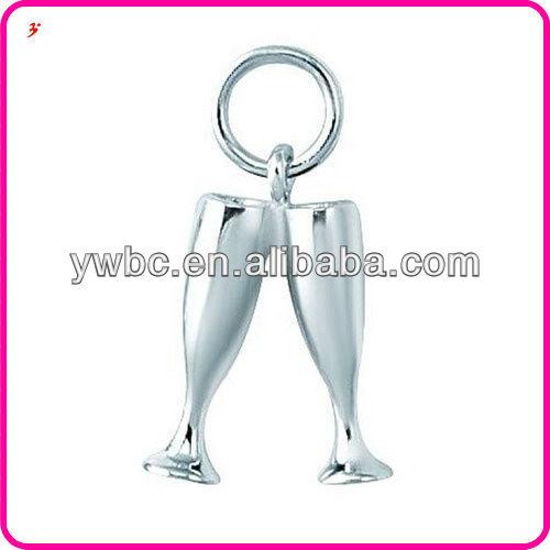 Top quality champagne glasses zinc alloy pendant charm jewelry