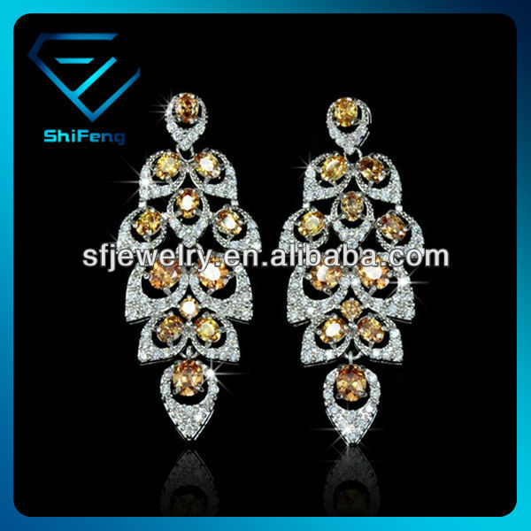New Arrival Champagne Color Drop Wedding Earring With CZ Paved