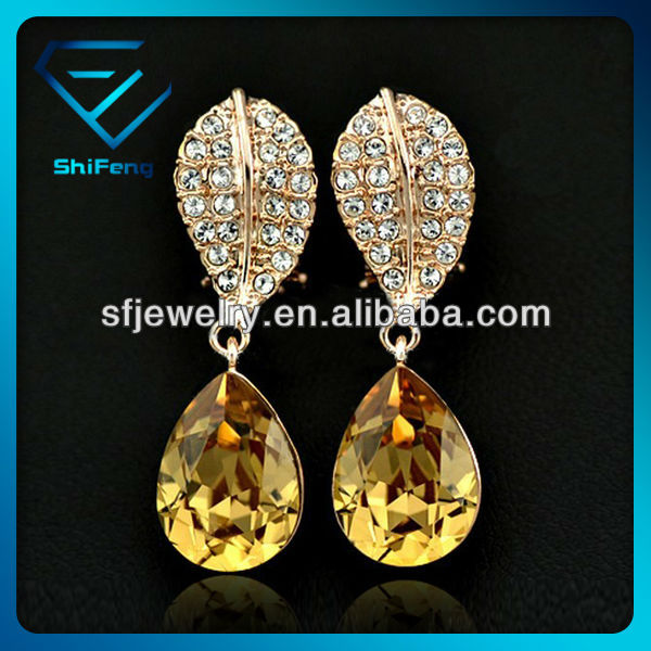 Fashion Rose Gold Plated Champagne Tear Cubic Zirconia Drop Earring