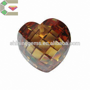 8x8mm dark champagne heart loose cubic zirconia for jewelry design