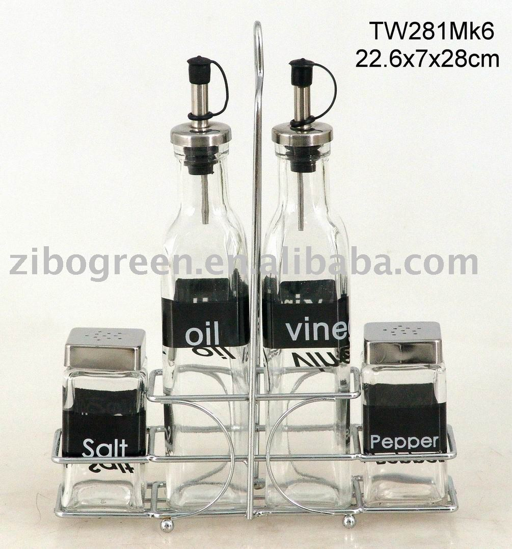 Zibo Fortune Light Industrial Products Co Ltd: TW281MK6 4pcs Glass Oil Vinegar Salt And Pepper Set With