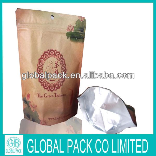 Custom printed kraft paper tea bag /kraft ziplock tea bag
