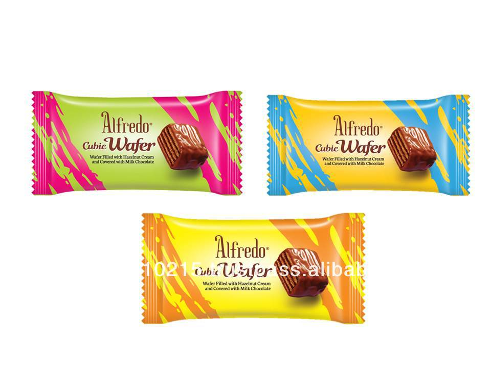 Alfredo Individual Wrap Cubic Wafer Milk Chocolate