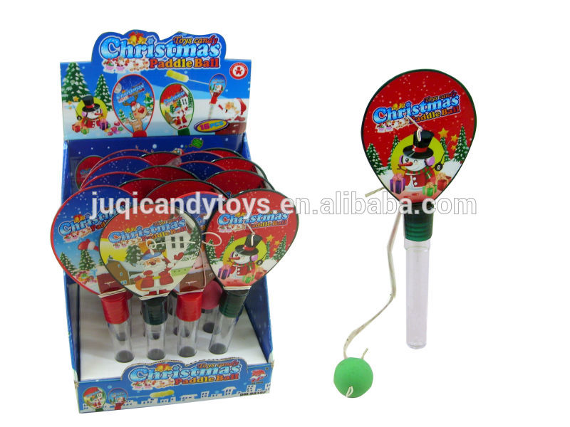 Toys With Balls And Tubes : Christmas paddle ball candy toys tube pcs box