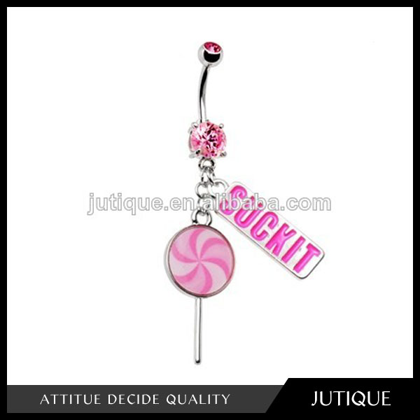 Pink Gem Suck It Lollipop Belly Ring