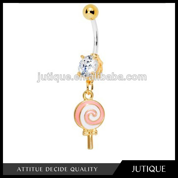 Gold Plated Clear Gem Sweet Eats Lollipop Belly Ring