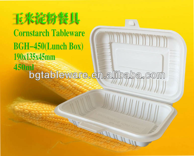 corn starch lunch box 450ml disposable food container biodegradable tableware
