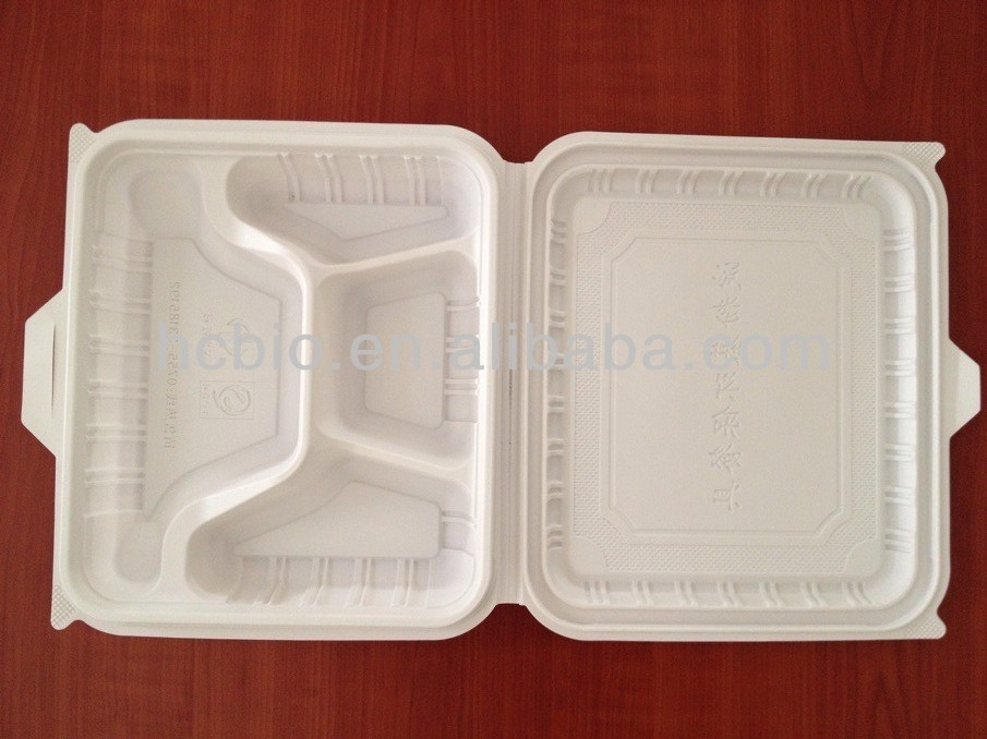 corn starch based lunch box, disposable tableware