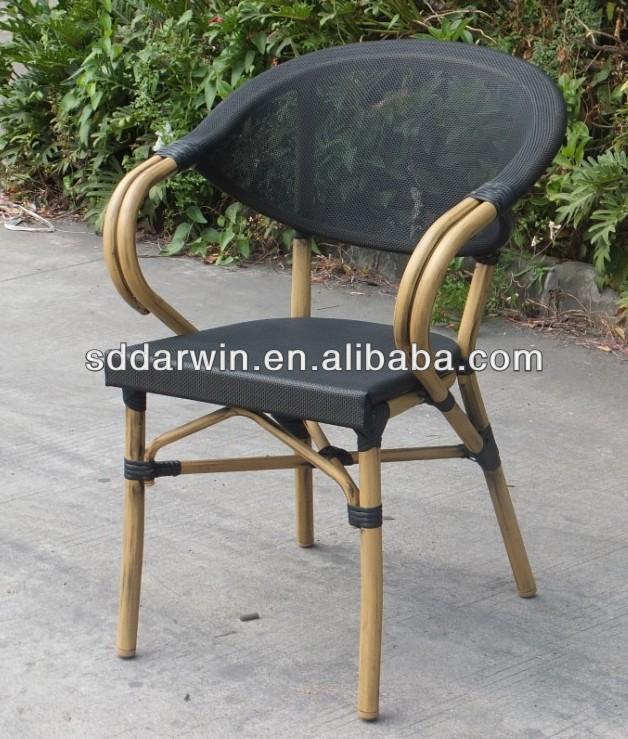 Restaurant bench bamboo look aluminium outdoor chair(DW-BC020)