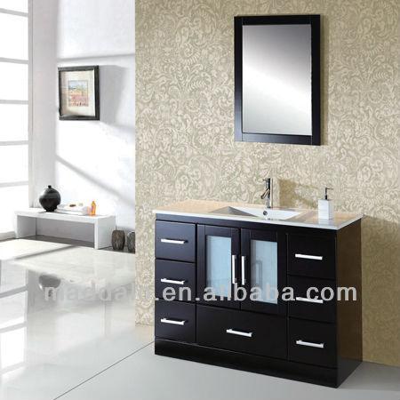 Hot Solid Wood Dark Brown Bathroom, Dark Brown Wood Bathroom Mirror