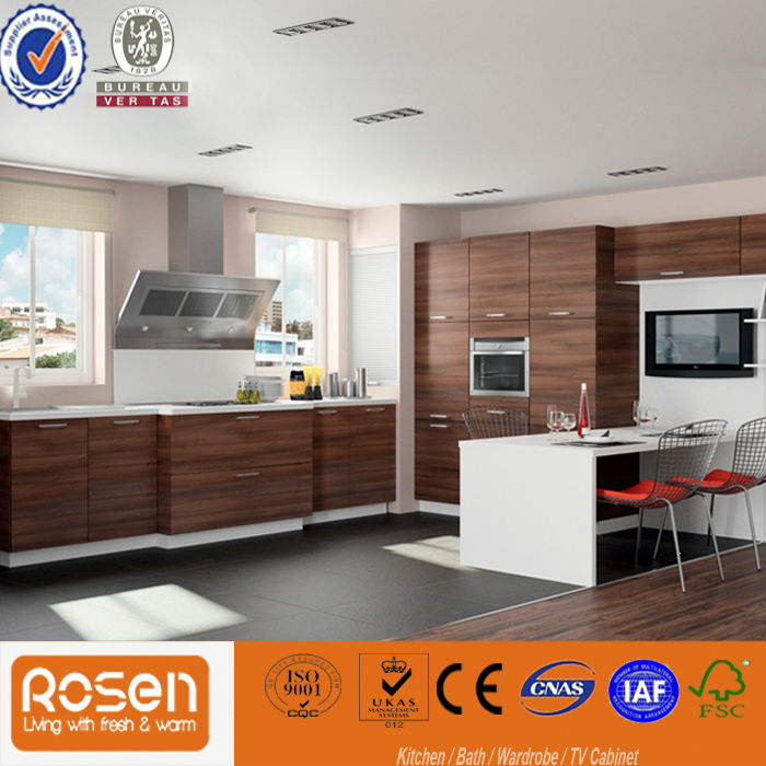 Kitchen Cabinet Supplier In: Dark Chocolate Melamine Kitchen Cabinet Products,China