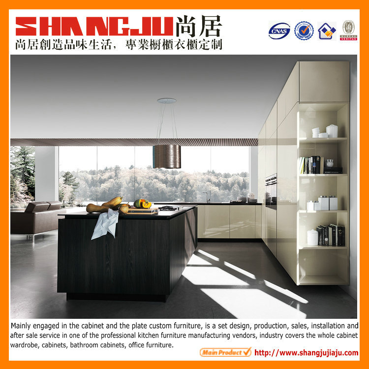 Dark Beige Kitchen Cabinets: Dark Chocolate Melamine And Beige Lacquer Kitchen Cabinet