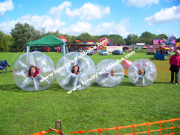 Small inflatable bubble football for kids playing