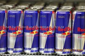 Red Bull energy drink with ENGLISH text