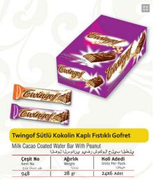 Twingof Milk Cacao Coated Wafer Bar with Peanut 28 gr.