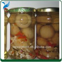 marinated mushroom in glass jar