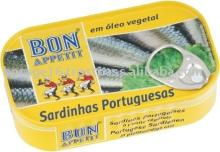 Portuguese Sardines (Pilchards), plain, in vegetable oil, NW120gx100