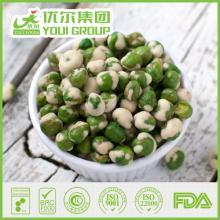 crispy dried green peas, wasabi covering