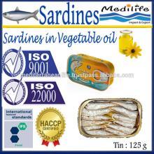 Sardines in Vegetable Oil ,100% High Quality of Sardines Vegetable Oil 125 g