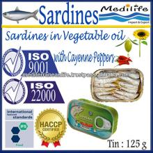 Sardines in Vegetable Oil with Cayenne Peppers,100% High Quality of Sardines Vegetable Oil with Caye