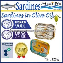 Canned Sardines in Olive Oil, Sardine in Olive Oil, 100% High Quality of Sardines, Fresh Sardines wi