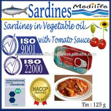 Canned Sardines in Vegetable Oil with Tomato Sauce, Sardines in Vegetable Oil with Tomato Sauce, Sar