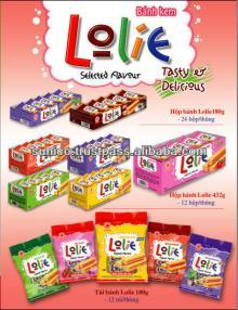 Lolie(Vanilla cream soft cake) packed in PP box18gram/pcs, 10pcs/pack